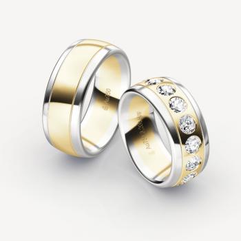 Eheringe Exklusiv Weißgold 750 und Gelbgold 750 Zweifärbig mit Brillanten Massiv