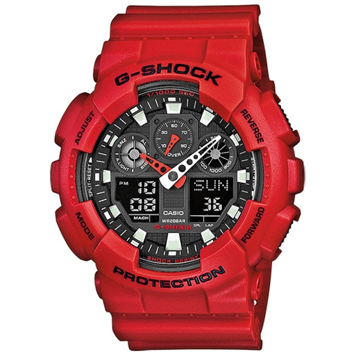Casio G-Shock GA-100B-4AER Herrenuhr Rot