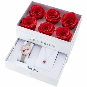 Julie Julsen JJW1081-SET Damenuhr Milanaise mit Halskette und Rosen