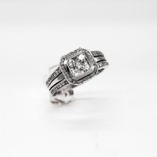 Verlobungsring Weißgold 585 mit Brillanten 1,00 CT Wesselton Pique 1