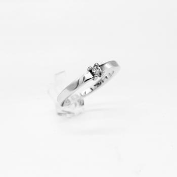 Verlobungsring Weißgold 585 mit Brillant 0,07 CT Wesselton SI Handarbeit