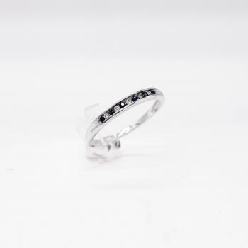 Verlobungsring Weißgold 585 mit Brillant und Blausaphir 0,05 CT Wesselton Pique