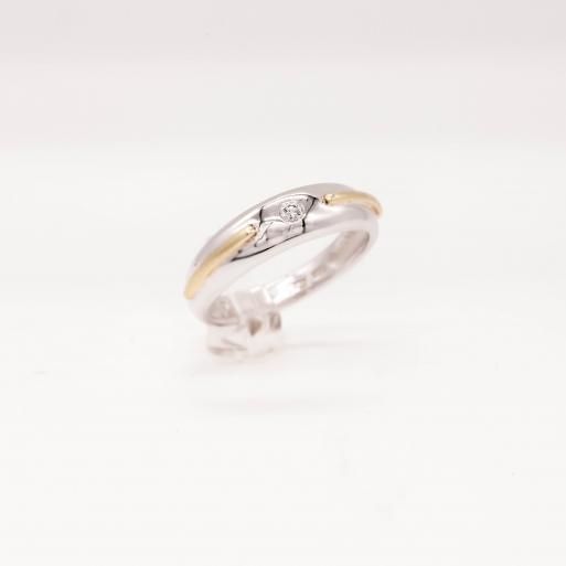 Damenring Weißgold 585 Massiv mit Brillant 0,05 CT Wesselton Pique