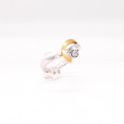 Damenring Weißgold 585 mit Brillant 0,09 CT Wesselton SI