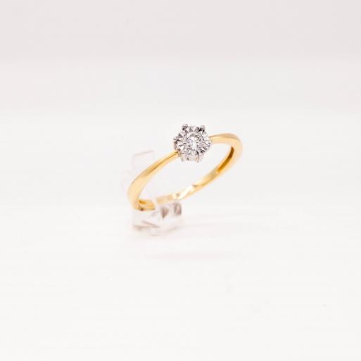 Verlobungsring Gelbgold 585 mit Brillant 0,15 CT Wesselton SI