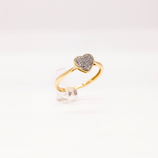 Verlobungsring Gelbgold 585 Herzförmig mit Brillant 0,05 CT Wesselton SI