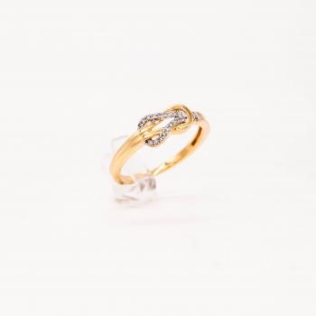 Verlobungsring Gelbgold 585 Knotenring mit Brillanten 0,10 CT Wesselton SI