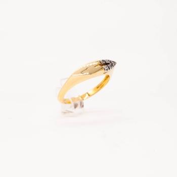 Damenring Gelbgold 585 mit Zirkonia in Weißgold Fassung
