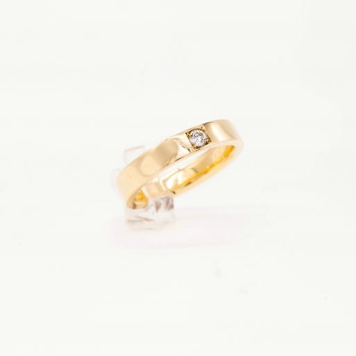 Damenring Gelbgold 585 Massiv mit Brillant 0,10 CT Wesselton SI Handarbeit