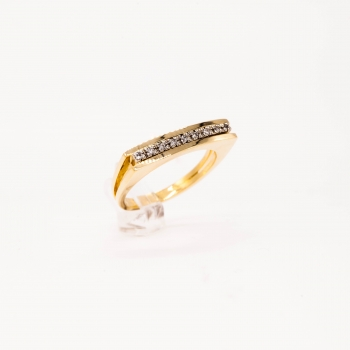 Damenring Gelbgold 585 mit Brillant 0,03 CT Wesselton Pique