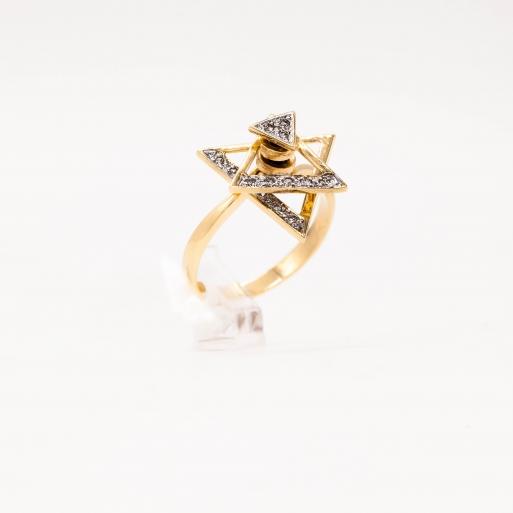 Damenring Gelbgold 585 Dreieck mit Brillanten 0,11 CT Wesselton Pique