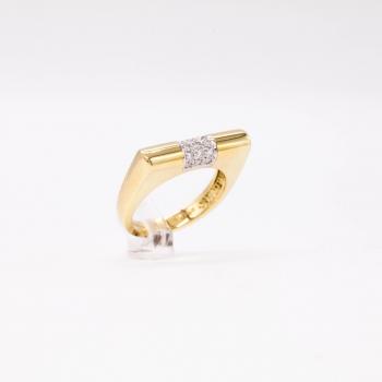 Damenring Gelbgold 585 Massiv mit Brillanten 0,15 CT Wesselton Pique