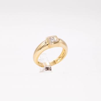 Damenring Gelbgold 585 Massiv mit Diamant im Princess Schliff  0,50 CT Wesselton Pique