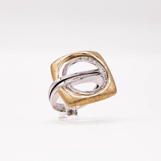 Damenring Weißgold und Gelbgold 585 Massiv mit Brillanten 0,06 CT Wesselton SI
