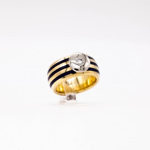 Damenring Gelbgold 750 Massiv mit Brillant  0,15 CT Wesselton SI