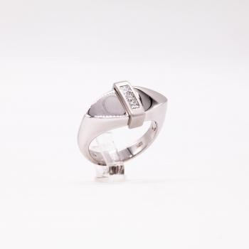 Damenring Weißgold 585 Massiv mit Diamanten im Princess Schliff 0,30 CT Wesselton SI