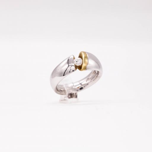 Damenring Weißgold 585 Massiv mit Brillant 0,20 CT Wesselton Pique