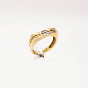 Damenring Gelbgold 585 Massiv mit Brillanten 0,09 CT Wesselton Pique
