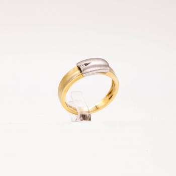 Damenring Gelbgold und Weißgold 585 Massiv mit Brillant 0,03 CT Wesselton SI