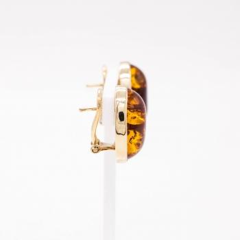 Ohrschmuck Gelbgold 585 Ohrclip mit Bernstein Orange Handarbeit