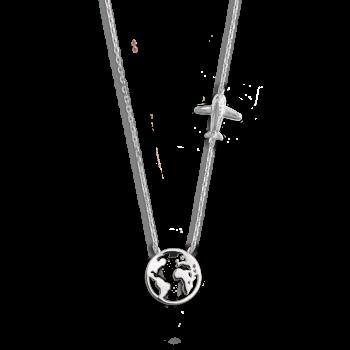 Xenox Wanderlust Weltkugel Flugzeug Halskette Silber XS3161