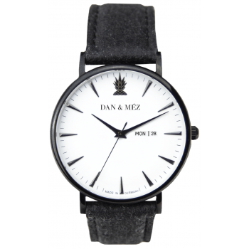 Dan & Méz Day-Date Season Black Men Herrenuhr Vegan Saphirglas