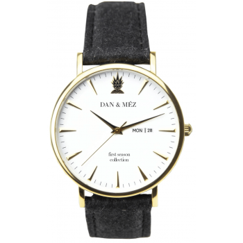 Dan & Méz Day-Date Season Gold Men Herrenuhr Vegan Saphirglas