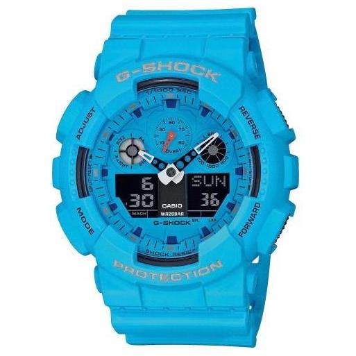 Casio G-Shock GA-100RS-2AER Herrenuhr Hellblau Shock Resistant