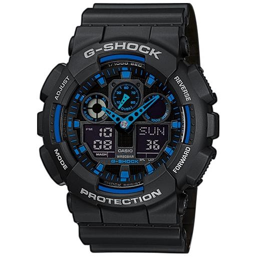 Casio G-Shock GA-100-1A2ER Herrenuhr Black Blue Shock Resistant