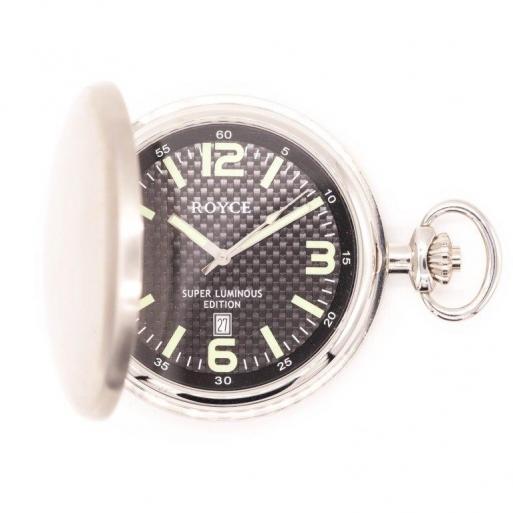 Taschenuhr Royce Quarz Altversilbert mit Deckel 4222027